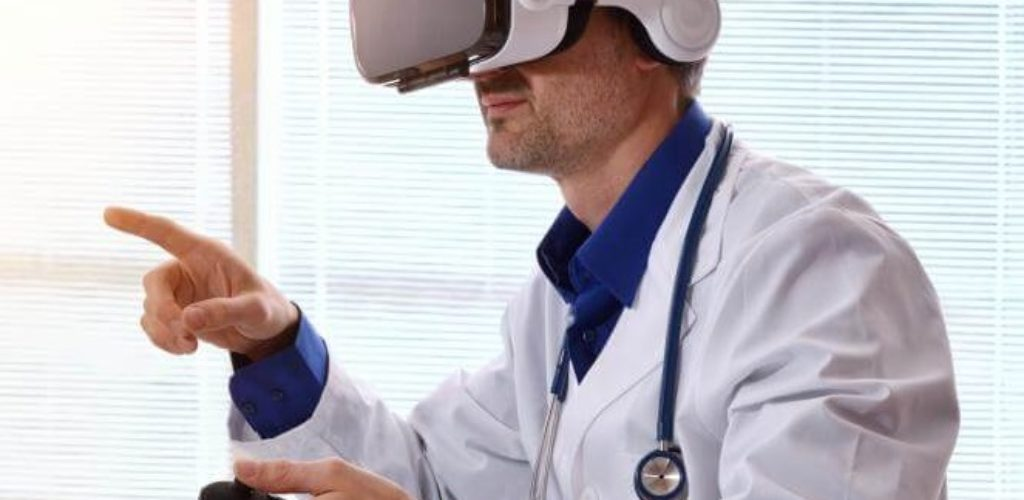 Conceptual representation of a digital doctor utilising VR equipment (disclaimer - not how the Generali service actually works)